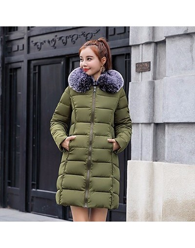 Padded Warm Down Jackets Women Winter Plus Size Long Black Thick fur Hooded Coat Jacket Outerwear Parkas for Women WP021 - g...