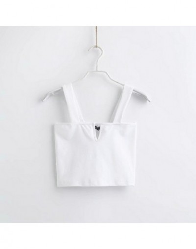 women sexy knitted camis tank top solid sleeveless short style female korea chic strench shirt blouse 2A17 - White - 4Z41283...