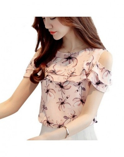 Womens Tops And Blouses Casual Chiffon Short Shirt Summer Blouse Women O-Neck Elegant Ladies Clothing Work Top 2019 Flower -...
