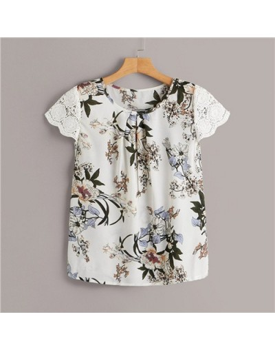 Contrast Lace Cuff Floral Blouse For Women Cap Sleeve Boho Womens Tops And Blouses 2019 Pleated Details Summer Blouse - Whit...
