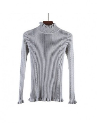 2019 new Fashion half Korean women knitted cashmere sweater slim petal collar shirt Elastic Bottoming Turtleneck Twist Pullo...