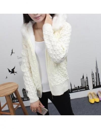 Autumn Winter Women plus velvet knitting Sweater Coat hooded fur collar warm short Paragraph Female Knit Cardigan Sweater LJ...