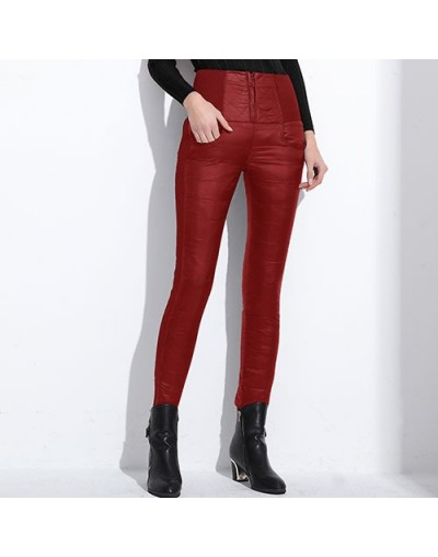 Winter Women Down Pants Plus Size Velvet Trousers Thickening Slim Thermal Female Warm Trousers Legging High Waist Pants - Re...