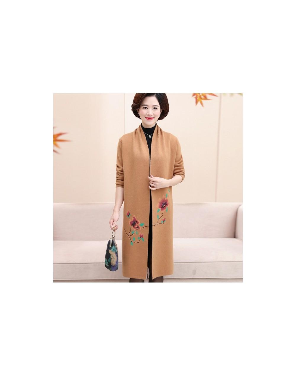 2019 Autumn Winter New Brand Middle-Aged Women Sweater Fashion Long Cardigan Print High Quality Wool Blend Cardigan Female R...