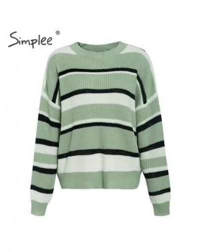 Stripes casual knitted women pullover sweater Long sleeve oversize autumn winter female jumper Streetwear ladies sweater - G...