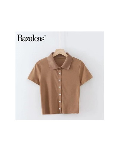 Buttons harajuku T-shirt Casual knitted Female Solid Color Crop Top Turn down Collar Tee Fashion Women T Shirt - W2338 brown...