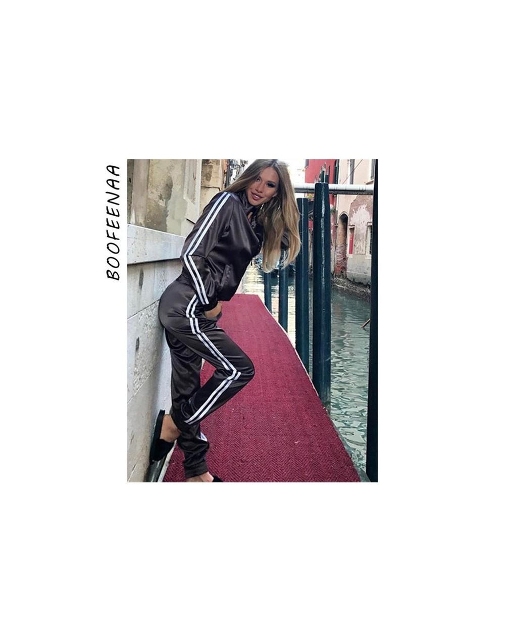 Fall 2019 Casaul Tracksuit Women 2 Piece Set Top And Pants Satin Striped Patchwork Zipper Sexy Sweatshirt Sweat Suit - Black...