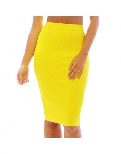 New Arrival Office Lady Yellow Pencil Bandage Skirt High Waist Plus Size Knee Length Skirt Cheap - YELLOW - 4F3062709077-9