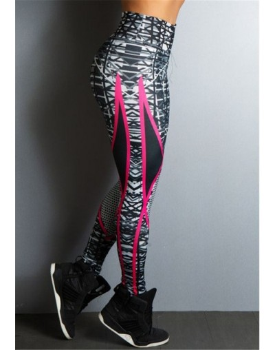 2019 New Geometric Striped Printed Women Fitness Leggings Skinny High Waist Elastic Push Up Legging Workout Pants Leggins - ...