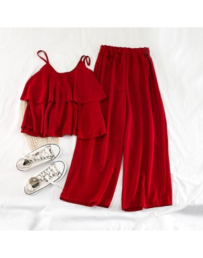 Korean New Version 2019 Student Loose Halter Shirt Top High Waist Wide Legs Nine Pieces Chiffon Two Piece Set Women - red - ...