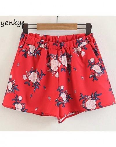 Floral Printed Red Shorts Women Elastic High Waist Casual Summer Short feminino spodenki damskie XZWM1663 - 4T3982144118