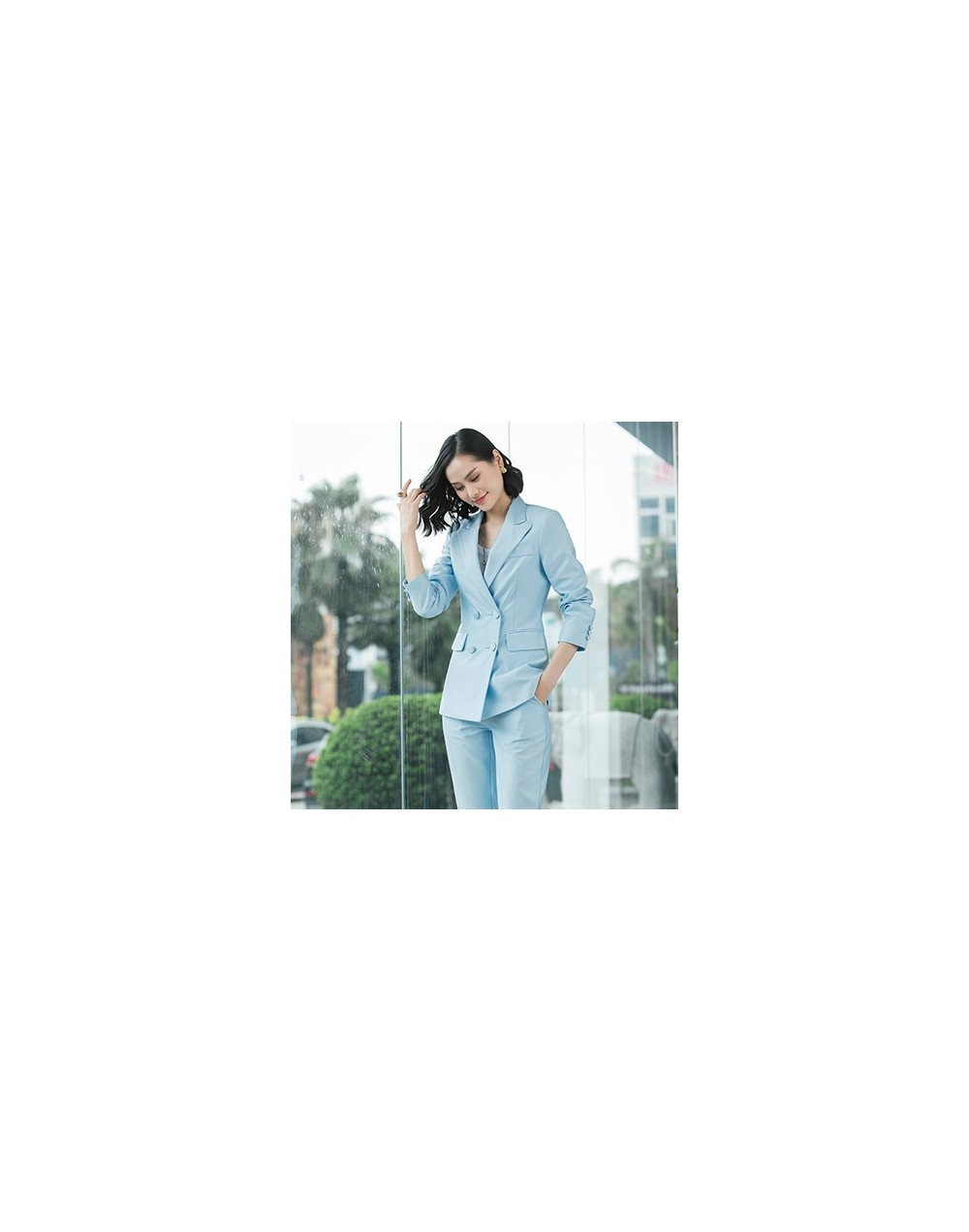 2019 New office work blazer suits of high quality OL women pants suit blazers jackets with trouser two pieces set red pink b...