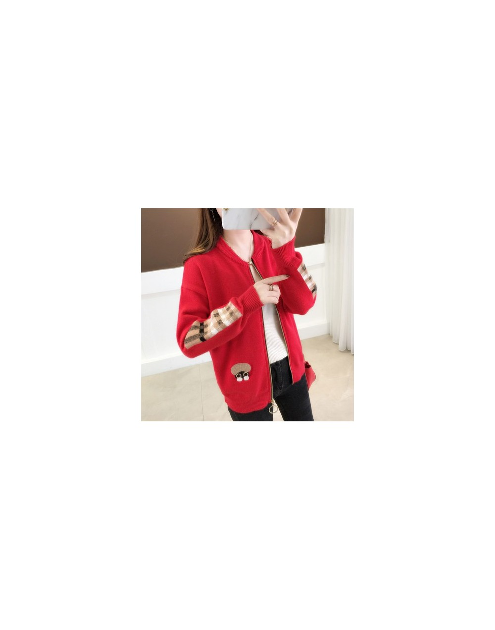 2019 The new spring large size women embroidered sweater long sleeve zipper cardigan coat F1761 - -R - 493922702738-16