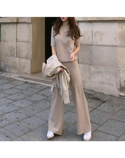 spring summer new Casual pants suit women's Sets short-sleeved knit sweater tops and wide-leg pants two-piece Set suit trous...