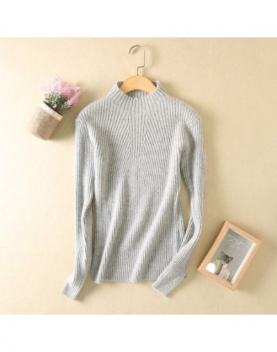 2017 New Autumn And Winter Sweaters Women Turtleneck Slim Sweater Semi-high Collar Cashmere Sweater Solid Color - Gray - 4R3...