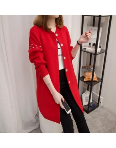 2018 New Autumn Winter Long Sleeve Cardigan Long Coat for Women Thick Slim Warm Wool Sweater LJ0652 - Red - 4C3010184755-4