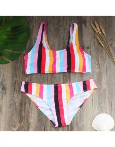 Women Rainbow Swimwear Girls New Fashion Summer Waterproof Bandage Tankini Set Push-Up Padded Swimsuit Bathing Beachwear - A...