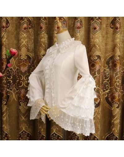 2019 Spring New Lolita Splice Lace Shirt Fashion Casual Chiffon Harajuku Women Blouse Top - White - 4V3085147434-2
