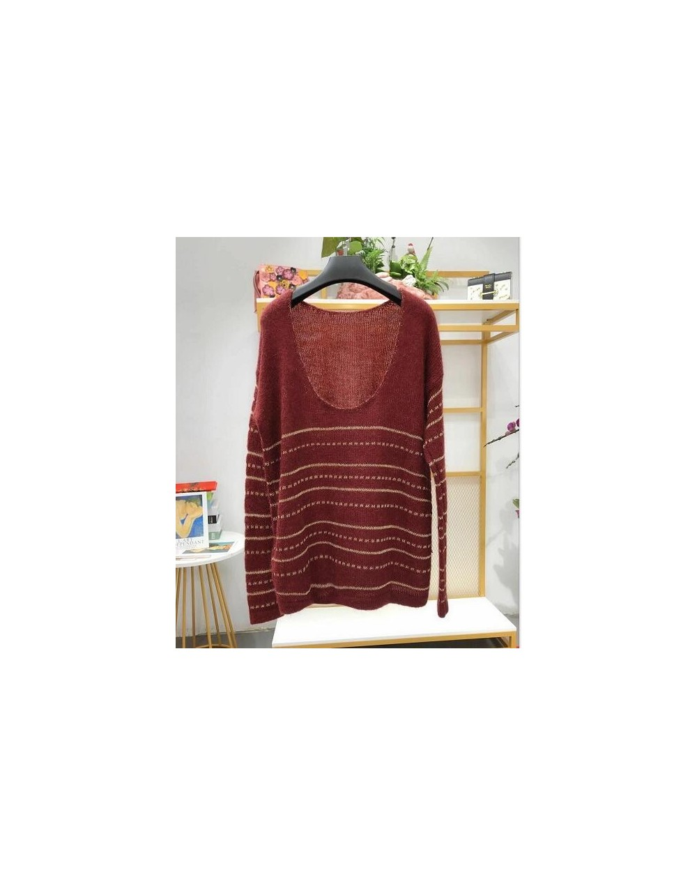 2019 New Women Striped Mohair Sweater Deep U Backless Sexy Gold Line Soft Pull Top - Red - 4A3090092500-2