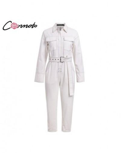 2019 Winter Casual White Cotton Long Sleeve Jumpsuit Women Fashion Button Jumpsuit High Waist Belt Long Overalls - White - 4...