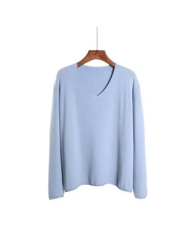 women pullovers cashmere sweaters sexy v-neck loose knitted tops 100% wool sweater long sleeve multi-colors plus size pullov...