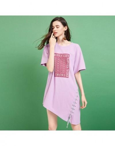 2019 Summer New Women Dress O-Neck Letter Print T-shirt Dress For Women Loose Casual Irregular Lace Up Dresses TA11790X - La...
