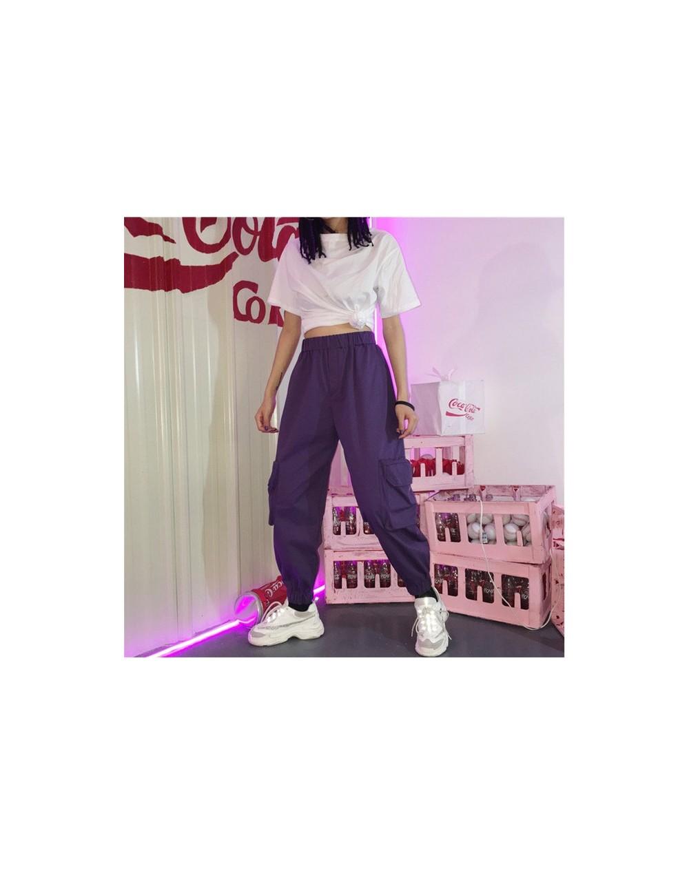 Spring retro chain purple cargo pants women's high waist pants jogging pants loose trousers women's street large size pantal...