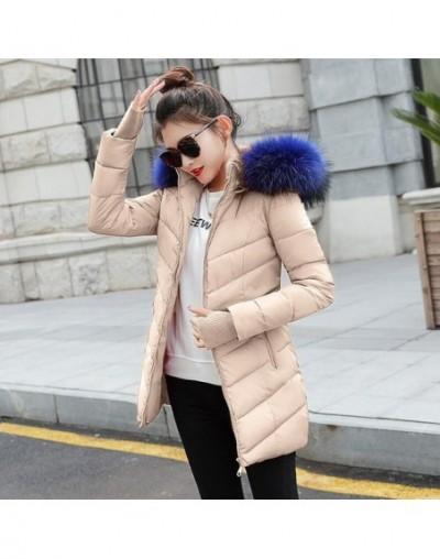 winter jacket women female coat 2019 woman parka long sleeve hood Slim keep Warm Fur collar white manteau femme hiver - Khak...