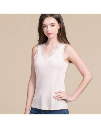 Women silk Tanks 100% Natural silk and lace Tank tops Black Nude White 2019 Bottoming shirt New Summer TOP - Nude - 45398113...