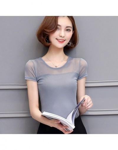 Women Clothing Summer 2019 Tshirt Casual Short Sleeve Tops Tees Sexy Lace T-Shirt O-neck Kawaii 3XL Blue Shirts harajuku T00...