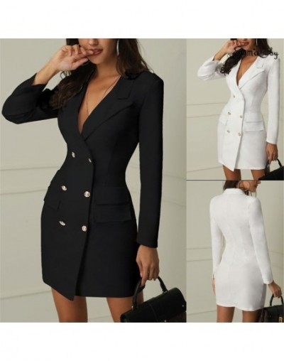 2019 New Fashion Womens Double Breasted Pocket Suit Blazer Spring Autumn Women Long Jackets Elegant Long Sleeve Blazer Outer...