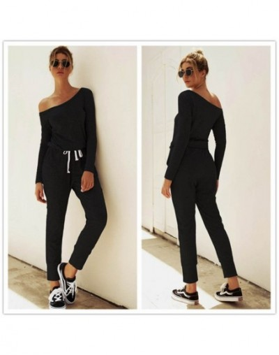 Autumn Sexy Off Shoulder Lace-up Pockets Jumpsuit Women casual solid One Piece Outfit Streetwear Rompers Overalls - 01 black...