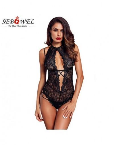 Sexy Black Halter Lace Bodysuit Women Lace Bodysuits 2019 Floral Lace Criss-cross Jumpsuits combinaison femme - Black - 4830...