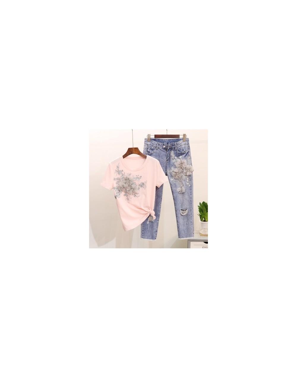Women 3D Flower T-shirts Jeans Sets Appliques Embroidery Tshirts+Holes Jeans Pants Costumes Suits - Pink - 4P3975887102-2