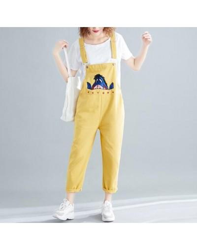 Women's Eeyore Cartoon Embroidery Denim Pants Jumpsuits 2019 Spring Loose Suspender Romper Jeans Overalls Ladies Streetwear ...