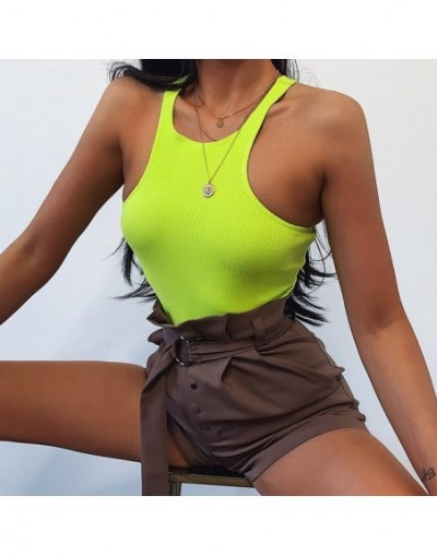 Solid Casual Sleeveless Bodysuit 2019 Rompers Womens Jumpsuit Ribbed Knitted Tops Neon Fashion Club Body Suits - neon green ...