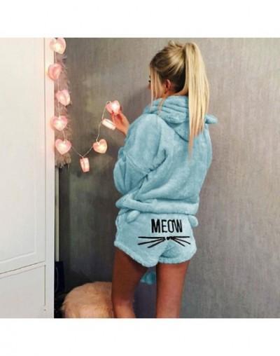 5XL Two Piece Set Women Coral Velvet Suit Autumn Winter Pajamas Warm Sleepwear 2018 New Cute Cat Meow Pattern Hoodies Shorts...
