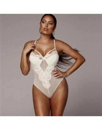 White Black Sexy Women Lace Insert Sheer Mesh Sleeveless Hollow Out Mid Waist Bodysuit Romper Summer Women Bodysuits Female ...