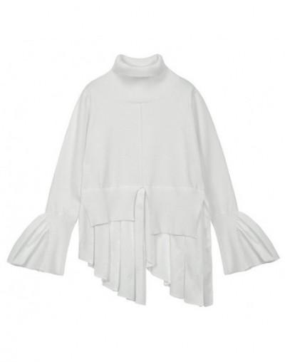 Patchwork Knitting Pullover Female Turtleneck Irregular Split Draped Flare Sleeve Tops 2018 Spring Fashion Clothing - white ...