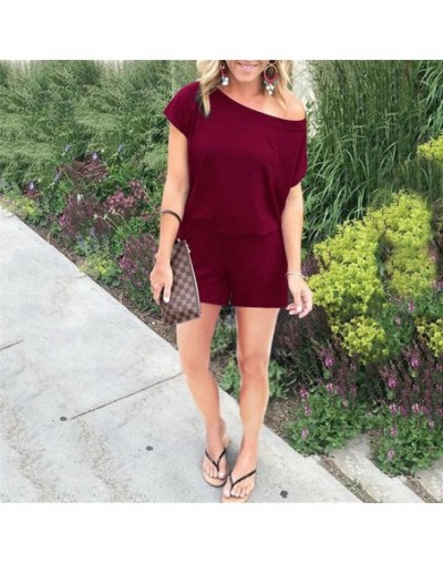 Causal Solid Color Plain Rompers Jumpsuit Women Summer Streetwear Playsuit Jumpsuit Ladies Top Shirt Overalls Shorts Playsui...