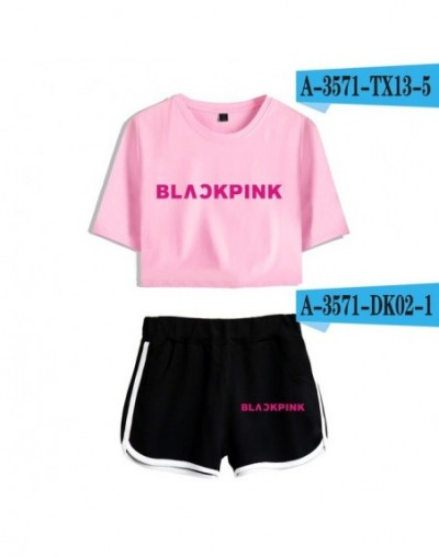 2019 Kpop Blackpink Two Piece Set Summer Sexy Cotton T shirt Woman Shorts and Crop Top Casual Tracksuit 2 Piece Outfits Wome...