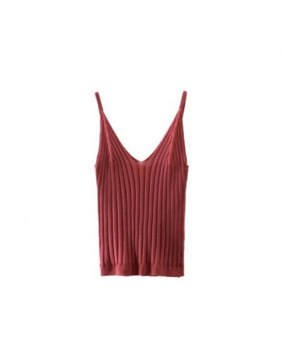 2019 Summer New Fashion Women Knitted Top Sexy V Neck Sling Cotton Blouse Vest Tank - Red - 4Y3008964987-3