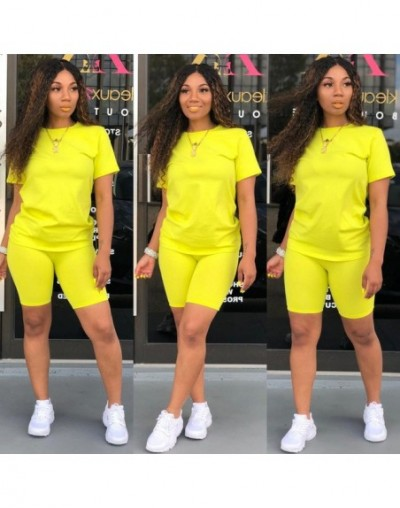 2 Piece Set Women Tracksuit Festival Clothing Crop Top and Biker Shorts Sexy Club Outfits Two Piece Matching Sets - Yellow -...
