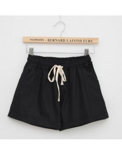 Women Summer High Waist Casual Shorts Slim Fit Elastic Waist Drawstring Cotton Short Feminino Candy Colors - Black - 4T39591...