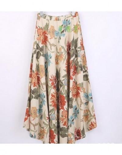 Women's linen skirt loose long skirt Bohemian print flower skirt - Orange - 4H3730613535-4