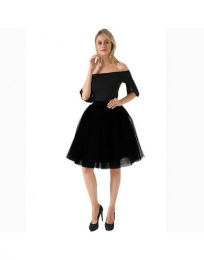 High Waist 7 Layer Midi Tulle Skirt Tutu Skirts Womens Petticoat Elastic Belt Summer faldas saia jupe 2019 - black - 4J37908...