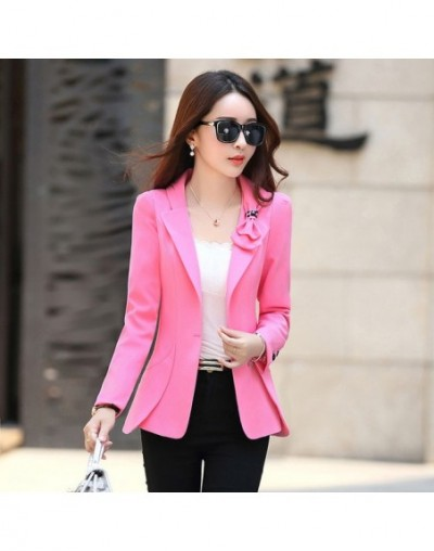 Korean Female Suit New Bow Casual Women Single Blazer Wild Slim Single Small Jacket Long-sleeved Pink Red Office OL style Bl...