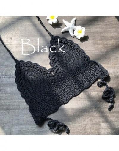 Women Summer crop top Sexy Cami Women Girl Backless Crochet Knitting Halter Beach Bikini Bra Cami Tank Crop Top - Black - 4O...