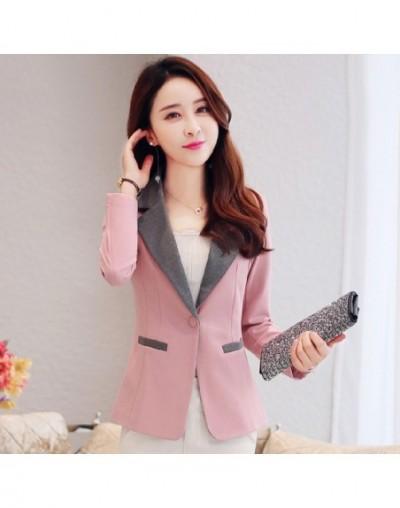 2019 Autumn Solid color Women Blazers Long sleeves Slim Coats For Women Temperament Short Blazers Female S-3XL DAN245 - pink...
