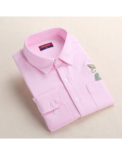 Print Cat Embroidery on Pocket Shirts Lady 2019 Spring New Fashion White Navy Casual Blouse Shirts Long Sleeve Blouse - Pink...